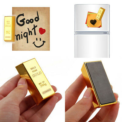 Gold Brick Shape Refrigerator Magnets Stick Craft Home Decoration Birthday Gift
