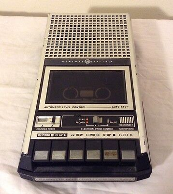 Vintage GE General Electric 3-5152B Cassette Recorder Power Cord Works Fair Cond