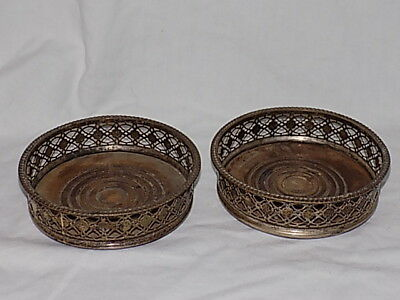 A Pair of Vintage Bottle Wine Coasters Trays-Silver plated