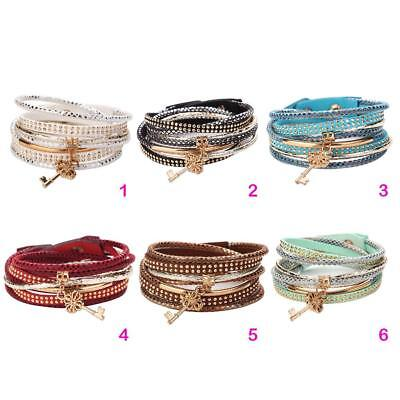 Multilayer Leather Bracelet Handmade Men Women Wristband Bangle Metal Buckle