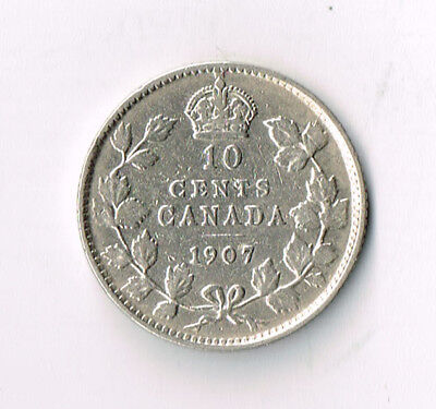 1907 Canada Silver 10 Cents Dime