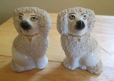Antique Staffordshire Pair of Poodle Confetti Dogs  Small RARE