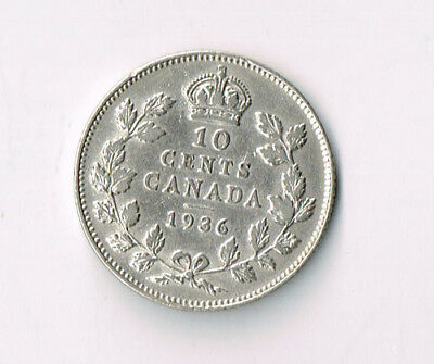 1936 Canada Silver 10 Cents Dime