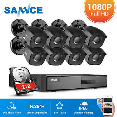 SANNCE 1080P HDMI 4CH 8CH DVR TVI Full 2MP Outdoor IR Security Camera System 2TB