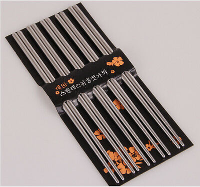 Stainless Steel Japanese Chopsticks Set Gift Metal Silver Lightweight