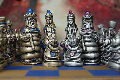 Alice in Wonderland Chess Set, Customisable colours (Pieces Only) Dark Alice