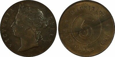 1888 Mauritius 5 Cents Queen Victoria Pcgs Ms63 Brown Pop.3