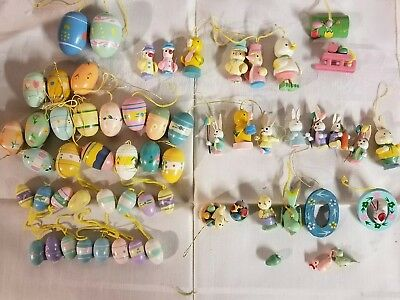 57 Vintage ~Easter Wooden ~Hand Painted Easter Ornaments~Crafts ~Decorations