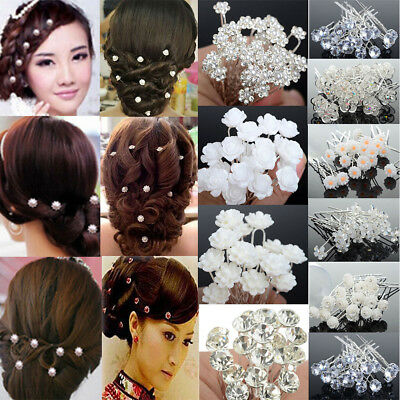 20/40Pcs Wedding Bridal Pearl Flower Crystal Hair Pins Clips Bridesmaid Party