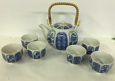Vintage OMC Japan Porcelain Floral Tea Pot & Stack-able Cup Set 7 Pc Blue White