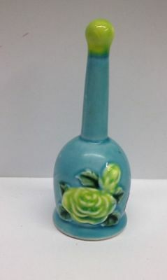 VINTAGE Norleans Japan Bell Retro Floral Caramic Roses Blue Green 4 1/2""