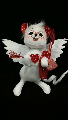 """Vintage Annalee 2006 Sweetheart Valentine, Cupid Mouse, 9 1/2"""", Holding Arrows"""