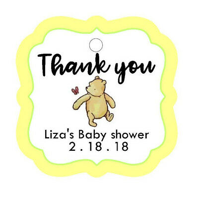 cc72e2c87146 24 Personalized Baby Shower CLASSIC POOH BEAR Thank You favor tags. yellow