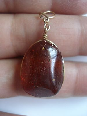 Vtg Antique Old 1800's 14K Gold Filled Real Baltic Honey Amber Pendant~Free Ship