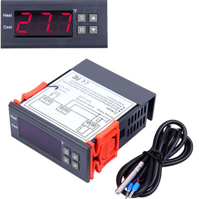 DC 12V Digital Temperature Controller Thermostat Control Fahrenheit w/Relay NTC