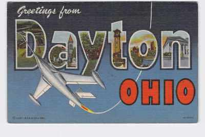 Big Large Letter Vintage Postcard Greatings From Ohio Dayton #2