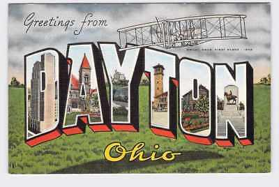 Big Large Letter Vintage Postcard Greatings From Ohio Dayton #1