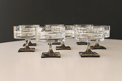 "Rosenthal ""Berlin"" 8 Linear-Smoke Crystal Champagne/Sherbet Glasses LARGE"