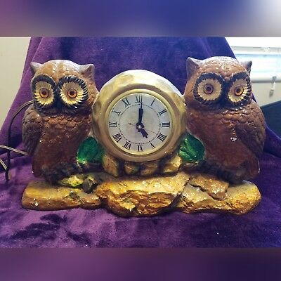 Vintage Lanshire Ceramic Owl Table Mantel Electric Clock working condition
