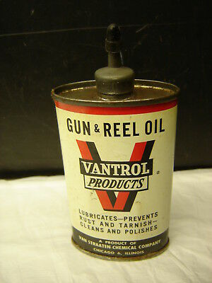 Vintage Vantrol Products  Gun & Reel Oil Tin Can Metal Top  Canco  Chicago