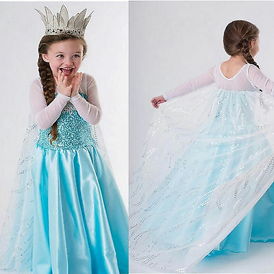 Girls Kids Frozen Princess Queen Elsa Party Dressup Cosplay Costume Long Dress