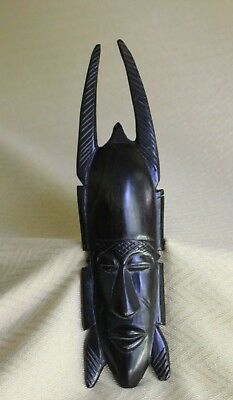 Vtg Hand Carved Ebony Wood Face Mask Head Statues Figurine African Wall Plaque