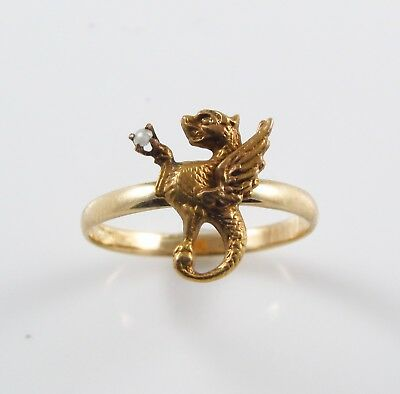 Antique 10K Gold Art Nouveau Pearl Griffin Winged Dragon Chimera Ring Size 6.25