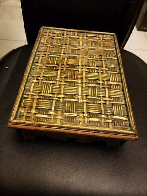 """Antique Vintage Bamboo Wicker Plant Stand Planter Woven Wood Base 10x7x2.5"""""""