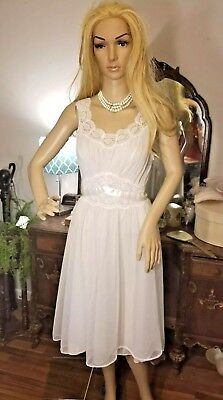 Vintage Vanity Fair Sheer Chiffon Lace Double Layer Bridal Nightgown 34 SWEEP