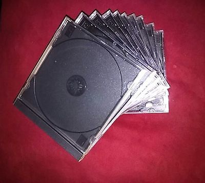 Lot of 10 Single Disk Black Empty CD/DVD Music Movie Jewel Cases