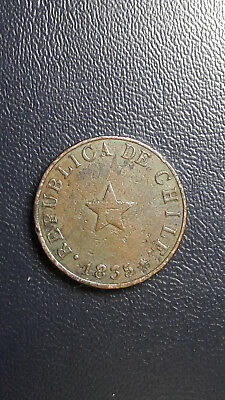 Coin Copper Chile 1/2 Cent year 1835 Good Grade excellent condition(2)