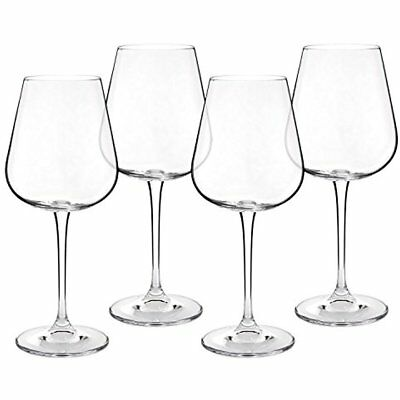 4 Red Wine Glasses - Hand Blown Lead-Free Crystal Imported From The Czech 450ml