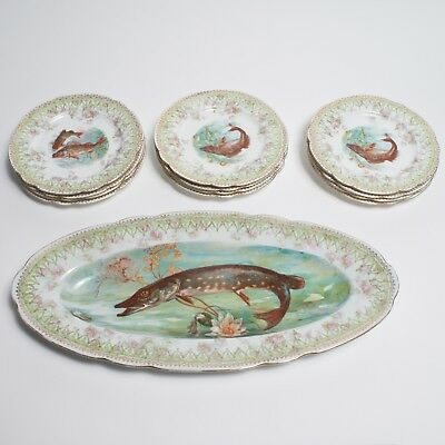 Rare Antique 19th Century Imperial Austrian China 13 Piece Set w Fish Beautiful!