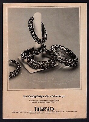 1982 Tiffany and Co Jean Schlumberger Gold Enamel Jewelry Bracelet Vintage Ad