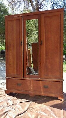 Early 19th century oak armoire with two drawers all original