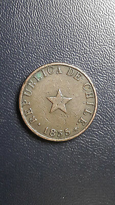 Coin Copper Chile 1/2 cent year 1835 High Grade excellent condition