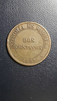 Coin Copper Chile 2 cent year 1881 Good Grade excellent condition