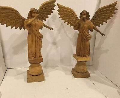 """Pair Of Large Hand Carved Wood Angels Folk Art  Statues Figurines  34"""""""