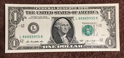 2013 $1 Fancy Serial Number Lucky 8's Very Nice Crisp CU Condition