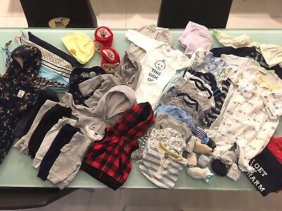 Baby boy clothes lot of 60 PIECES - newborn to 3 months - great starter kit