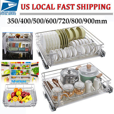 Kitchen Cabinet Pull Out Chrome Wire Basket Pantry Organizer Storage Rack  Holder