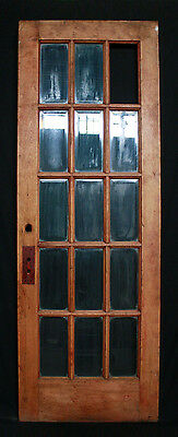 "29""x84""x1.75"" Antique Vintage Exterior Entry French Wood Door Beveled Glass Lite"