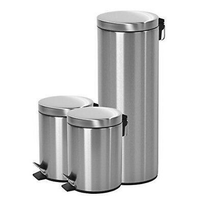 Garbage Bin Stainless Steel Trash Can Lid& Wastebasket Bathroom Kitchen Set Of 3