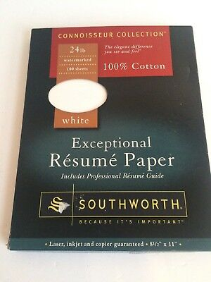 65 sheets Southworth Exceptional Resume Paper 24lb WHITE Cotton 8 1/2 x 11 in