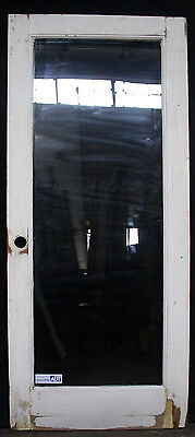 32x79 Vintage Wood Wooden Exterior Back Side Entry Door Double Pane Glass Window