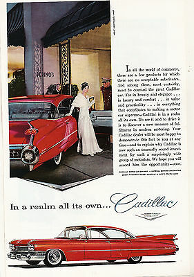 Vintage 1959 Cadillac Automobile Ad Car Advertising Perino's Elizabeth Arden