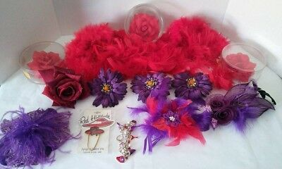 Lot of 14 Purple & Red accessories Perfect for Red Hat society ladies