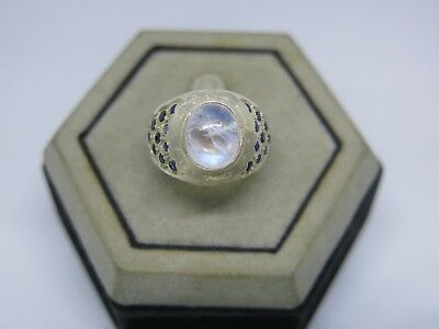 Vintage silver Ring Real Moonstone Blue Sapphire Sterling 925 size 7