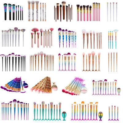 3D Mermaid Makeup Brush Set Powder Foundation Eye shadow Blush Cosmetic Brushes