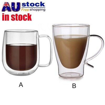 300ml Strong Clear Double Wall Coffee Mug Heat Resistant Tea Glass Drinking Cups